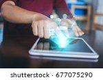 double exposure of businessman... | Shutterstock . vector #677075290