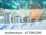 business man on digital stock... | Shutterstock . vector #677081200