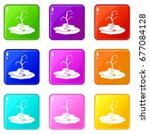 drought icons of 9 color set... | Shutterstock .eps vector #677084128