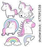 unicorn set. illustration...   Shutterstock .eps vector #677091538