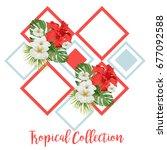 summer sale tropical flowers... | Shutterstock .eps vector #677092588