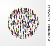 big people crowd in circle.... | Shutterstock .eps vector #677093116
