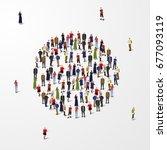 big people crowd in circle.... | Shutterstock .eps vector #677093119