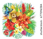illustration with tropical... | Shutterstock .eps vector #677096584