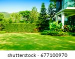 green lawn  the front lawn for... | Shutterstock . vector #677100970