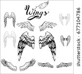 angel wings vector  lettering ... | Shutterstock .eps vector #677104786