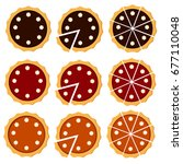 homemade pie set with different ... | Shutterstock .eps vector #677110048