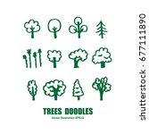 tree doodles | Shutterstock .eps vector #677111890