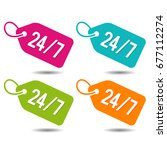 24 7 price tags. flat eps10... | Shutterstock .eps vector #677112274