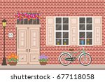 street building facade of the...   Shutterstock .eps vector #677118058