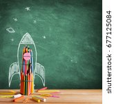 start school concept   rocket... | Shutterstock . vector #677125084
