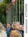 "Small photo of 13.07.2017. RIGA,LATVIA. President of Republic of Latvia Raimonds Vejonis(R) People's Meeting for ""Rule of law in Latvia"", near Riga Castle."
