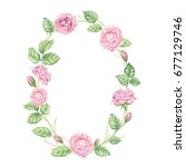 floral hand drawn watercolor... | Shutterstock . vector #677129746