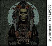 vintage demon horror heavy... | Shutterstock .eps vector #677129770