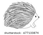 line art design of hedgehog for ... | Shutterstock .eps vector #677133874