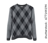 checkered sweater on white... | Shutterstock . vector #677144194