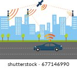 traffic and wireless network ... | Shutterstock .eps vector #677146990