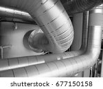 cold and hot pipe insulation on ... | Shutterstock . vector #677150158