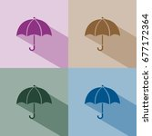 umbrella icon with shade on... | Shutterstock .eps vector #677172364