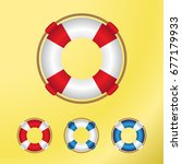 lifebuoy illustration   set of... | Shutterstock .eps vector #677179933