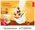 instant oatmeal with chocolate... | Shutterstock .eps vector #677180020