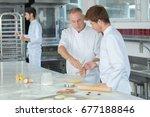 apprentices bakers in school...   Shutterstock . vector #677188846