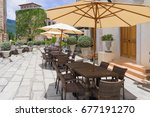 outdoor furniture coffee cafe... | Shutterstock . vector #677191270