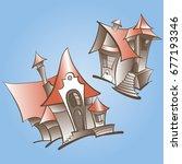 vector image of house  fairy... | Shutterstock .eps vector #677193346