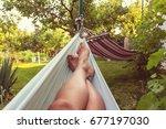 hammock in the tropical beach ...   Shutterstock . vector #677197030