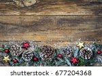 christmas greeting card... | Shutterstock . vector #677204368