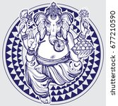 hand drawn lord ganesha over... | Shutterstock .eps vector #677210590