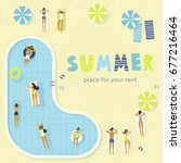 top view  summertime  holidays... | Shutterstock .eps vector #677216464