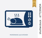 microwave and chicken icon.... | Shutterstock .eps vector #677230654