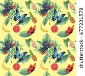 hawaiian pattern with tropical... | Shutterstock . vector #677231578