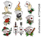vector playing cards... | Shutterstock .eps vector #677244268