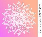 outline flower mandala. floral... | Shutterstock .eps vector #677255020