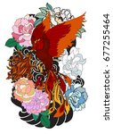 colorful phoenix fire bird with ... | Shutterstock .eps vector #677255464