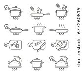 cooking icons  thin monochrome... | Shutterstock .eps vector #677260819