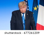 paris  france   july 13  2017   ...   Shutterstock . vector #677261209