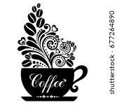cup of coffee with floral... | Shutterstock .eps vector #677264890