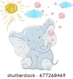 Stock vector cute elephant with bubbles hand drawn vector illustration can be used for t shirts print fashion 677268469