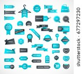 vector stickers  price tag ... | Shutterstock .eps vector #677297230