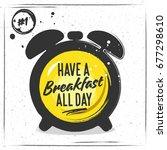 silhouette of an alarm clock... | Shutterstock .eps vector #677298610