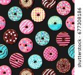 donut seamless pattern. pink ... | Shutterstock .eps vector #677308186