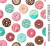 donut seamless pattern. pink ... | Shutterstock .eps vector #677308213