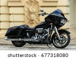 Small photo of Black Harley Davidson Glide motorcycle, Warsaw Street Show, 2017 July 12