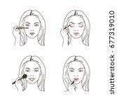woman doing make up. applying... | Shutterstock .eps vector #677319010