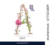 floral watercolor alphabet.... | Shutterstock .eps vector #677321809