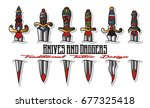 knives and daggers vector... | Shutterstock .eps vector #677325418