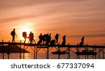 silhouettes of the backpackers... | Shutterstock . vector #677337094